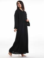Moistreet Black Stone Work Abaya with Sheila (MOIA2071)