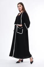 Moistreet Black & White Pocket Detail Abaya (MOIS3025)