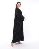 Moistreet Black Jacquard Abaya (MOIS3099)