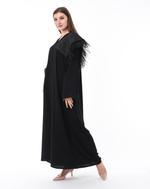Moistreet Black Feather Detail Abaya (MOIS3106)