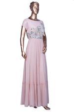 Summer by Priyanka Gupta Blush Pink Embellished Tiered Maxi Dress (MS1929) by Vesimi
