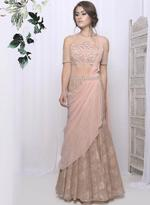 Mandira Wirk Peach Draped Saree (MW/CF-006)