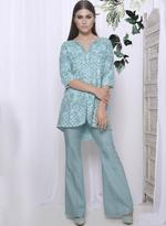 Mandira Wirk Stone Blue Jacket with Palazzo Pants (MW/FW-A008-B)