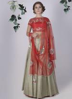 Mandira Wirk Red & Sage Green Lehenga Set (MW/FW-A013)