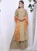 Mandira Wirk Beige & Orange Palazzo Set with Dupatta (MW/FW-AO22)