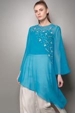 Mandira Wirk Blue & White Tunic with Skirt Set (MW/SS-18/TS-002)