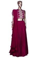 Bhumika Sharma Maroon Embroidered Lehenga Set (SAIBSSS19104) by Vesimi