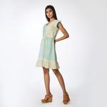 Pink Lemon Blue & Lime Yellow Striped & Printed Cut & Sewn Dress (SS18-07)