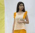 The Khadi Staple Yellow & White Polka Dot Top (TKSD08)