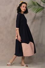 The Khadi Staple Navy & Peach Colorblocked Dress (TKSF01)