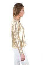 Miella Gold Basic Metallic Knit Top  (TP760-GLD)