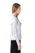 Miella Silver Basic Metallic Knit Top  (TP760-SLVWHT)