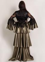 Sa Soie Black & Gunmetal Evening Gown (04001)