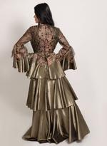 Sa Soie Gunmetal Evening Gown (04002)