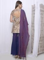 Mandira Wirk Grey & Purple Palazzo Set with Dupatta (MW/FW-A005)