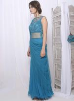 Mandira Wirk Blue Embroidered Draped Saree (MW/SC-001)
