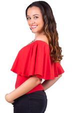 LoveGen Red Off-Shoulder Top (L71ABW16B)