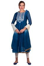Imara Blue & Off-White Embroidered Anarkali Set (A18INDCKD378)