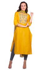 Imara Yellow & Grey Embroidered Kurta Set (A18LINCKD121A)