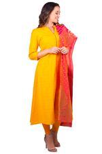 Imara Yellow & Pink Slub Kurta Set (A18UTSCKD806A)