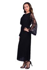 Elvi Black Pandora Pleated Midi Dress with Lace Inserts (AW18/02/DS59)