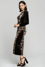 OwnTheLooks Black & Brown Printed Bodycon Dress (966B)