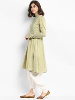 Abhishti Green & White Flared Kurta with Dhoti Pants (ABI-ST197)