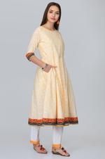 Abhishti Yellow & White Sanganeri Anarkali Kurta with Pants (ABI-ST278)