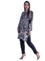 Agha Noor Black & Grey Embroidered Kurta Set (ANSS'19-05)
