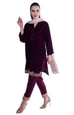 Agha Noor Purple & Beige Embroidered Kurta Set (ANSS'19-17)
