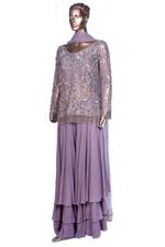 Aneesh Agarwaal Lavender Embroidered Net To, Dupatta & Layered Sharara Set (AVS-104) by Vesimi