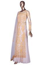 Aneesh Agarwaal Beige & Yellow Embroidered Lehenga Set (AVS-106) by Vesimi