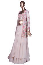 Aneesh Agarwaal Off White & Pink Embroidered Lehenga Set (AVS-116) by Vesimi