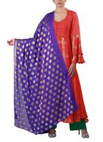 Latha Puttanna Orange & Purple Kurta with Pants & Dupatta