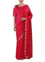 Latha Puttanna Red Woven Saree with Stitched Blouse