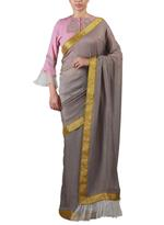 Latha Puttanna Grey & Pink Saree with Stitched Embrodiered Blouse