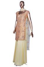 Diya Rajvvir Yellow & Gold Embellished Kurta, Dupatta & Palazzo Set (DR-W19-ATI-17) by Vesimi