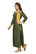 Suumaya Green & Yellow Cut & Sew Kurta (JC-585)