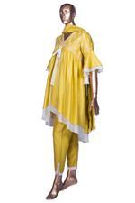 Summer by Priyanka Gupta Mustard Yellow Embroidered High-Low Kurta Set (KS19109) by Vesimi