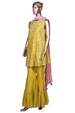 Summer by Priyanka Gupta Mustard Yellow & Pink Embroidered Kurta, Dupatta & Gharara Set (KS19115) by Vesimi