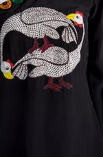 Masaba Black & Red Cosmic Flock Printed One Shoulder Tunic & Pants Set by Vesimi (MAW19103)