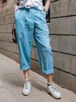 Mesmora White Top & Sky Blue Pants Set (#MF1309)