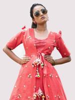 Mesmora Coral Red & Off-White Embroidered Khadi Kurta & Pants Set (#MF1407)