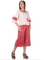 Mesmora Off-White Top & Red Striped Cropped Palazzo Set (#MF2255RED LINING)
