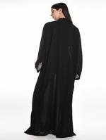Moistreet Black Embroidered & Pleated Hem Abaya with Sheila (MOIA2058)
