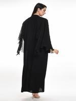 Moistreet Black Laser Cut & Stone Work Abaya with Sheila (MOIA2060)