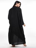 Moistreet Black Paneled Abaya with Sheila (MOIA2069)