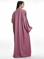 Moistreet Pink Floral & Beaded Abaya with Sheila (MOIA2080)