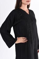 Moistreet Black Embroidered Linen Abaya (MOIS3017)