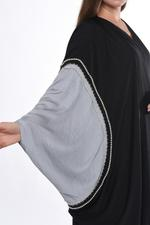 Moistreet Black & Grey Cape Abaya (MOIS3033)